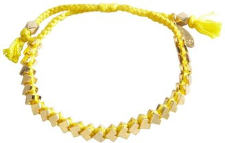 Ettika Yellow Cotton Braided Mini Arrow Metal Trim Friendship Bracelet