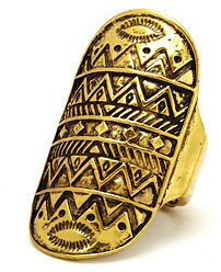 Charlotte Russe Antiqued Aztec-Etched Ring