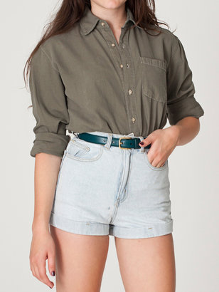American Apparel Unisex Denim Long Sleeve Button-Up with Pocket