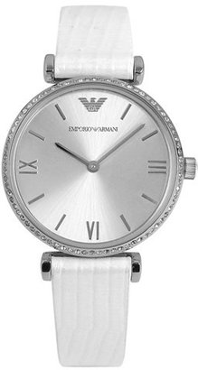 Emporio Armani Crystal Bezel Embossed Leather Strap Watch, 32mm