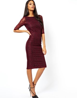Asos Exclusive Lace Midi Knot Back Dress with 3/4 Length Sleeve