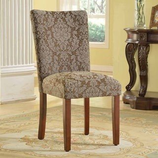 HomePop Elegant Blue and Brown Damask Parson Chairs