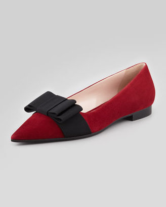 Miu Miu Suede Pointed-Toe Bow Flat, Red