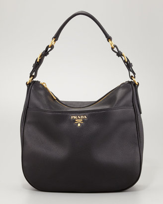 Prada Vitello Daino Front-Pocket Hobo Bag
