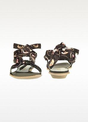 Alberto Gozzi Black Shoe Print Silk Tie Sandal Shoes