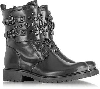 Loriblu Black Leather Combat Boot w/Crystal