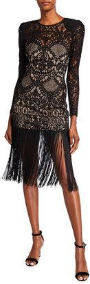 Bronx and Banco Allegra Long-Sleeve Fringe-Hem Lace Midi Dress