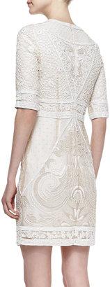 Monique Lhuillier Embroidered Lace Cocktail Dress