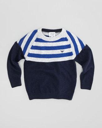 Armani Junior Solid & Striped Knit Sweater, Blue, 2Y-8Y