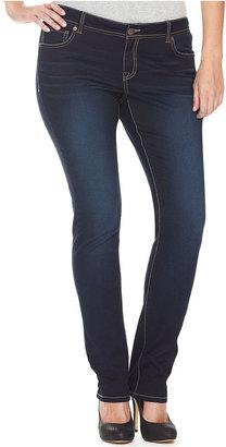 INC International Concepts Plus Size Jeans, Skinny Faded, Dark Wash
