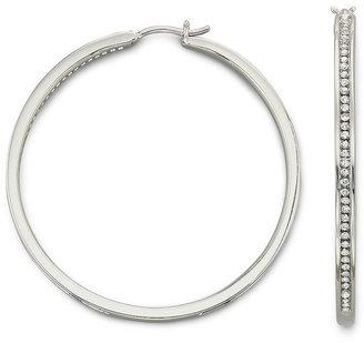 FINE JEWELRY 1/2 CT. T.W. Diamond 2 Sterling Silver Hoop Earrings $416.65 thestylecure.com