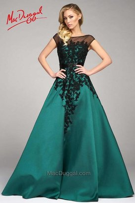 Mac Duggal Evening Gowns - 48511 Cap Gown In Emerald Black $598 thestylecure.com