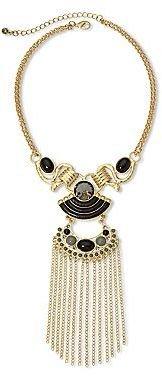 JCPenney Aris by Treska Gold-Tone & Black Stone Tassel Necklace