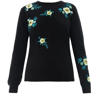 Christopher Kane Floral embroidered cashmere sweater