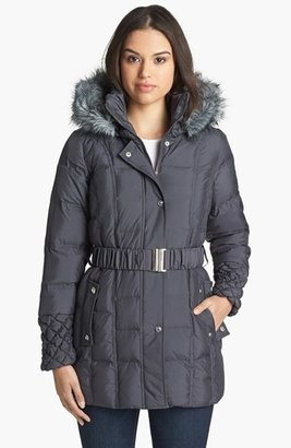 Betsey Johnson Faux Fur Trim Quilted Parka (Online Only)
