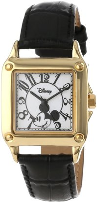 Disney Women's W000475 Mickey Mouse Gold-Tone Watch with Black Faux Leather Band