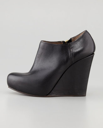 Marni Polished Leather Wedge Bootie, Black