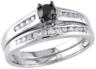 Allura TevolioTM 0.5 CT.T.W. Round Black Diamond and White Diamond Prong Set Wedding Ring in 10K White Gold (GH I3)