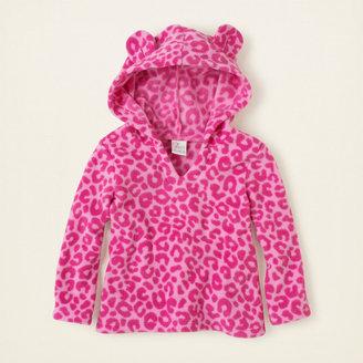 Children's Place Leopard glacier fleece pullover hoodie