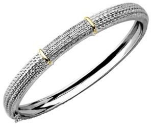 Lord & Taylor Diamond-Accented Bangle in Sterling Silver with 14 Kt. Yellow Gold
