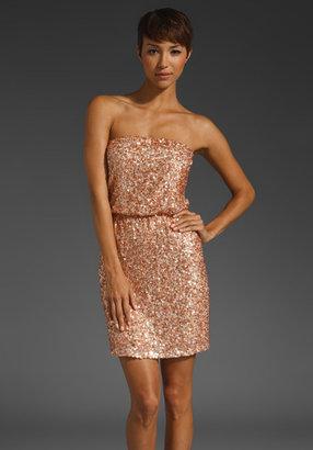 Alice + Olivia Paisley Sequined Strapless Blouson Dress