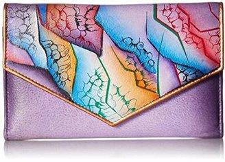 Anuschka Anchka Women's Genuine Leather Checkbook Wallet | Hand painted Original Artwork |