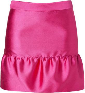 Moschino Cheap & Chic Satin Ruffle Hem Skirt in Fuchsia