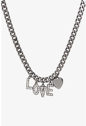 Torrid Hematite Rhinestone Love Charm Necklace