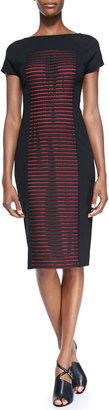 Lafayette 148 New York Short-Sleeve Dress with Striped Honeycomb Latticework