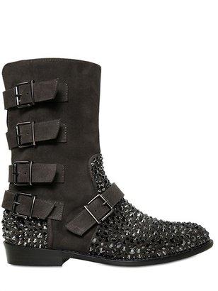 Crystals & Suede Multi Strap Biker Boots