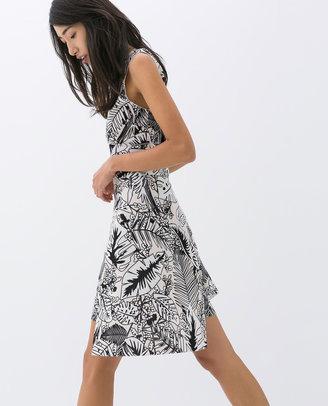 Zara Printed Asymmetric Skirt