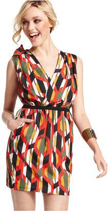 XOXO Juniors Dress, Sleeveless Printed Surplice