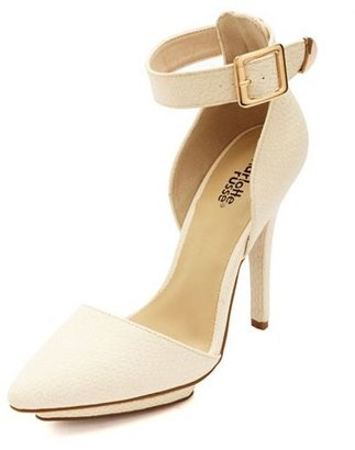 Charlotte Russe Textured Ankle Strap & Pointy Toe Heels