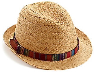 Lucky Brand Straw Fedora Hat With Woven Band