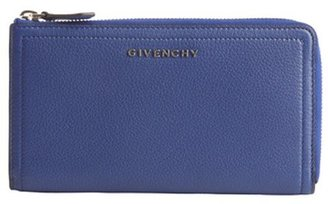 Givenchy blue leather zip around continental wallet