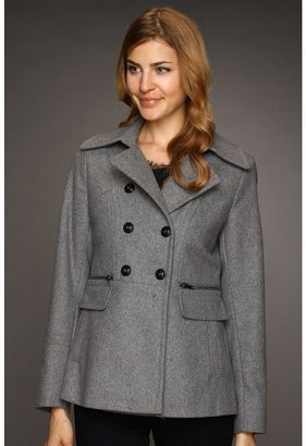 DKNY Short Double Breasted Peacoat (Pale Grey) - Apparel
