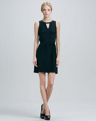 Neiman Marcus Cusp by Yasmin Belted Silk Dress