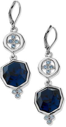 T Tahari Earrings, Silver Tone Blue Crystal Double Drop Earrings
