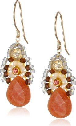 "Miguel Ases Orange Jade and Created Quartz Drop Earrings 1.4"""
