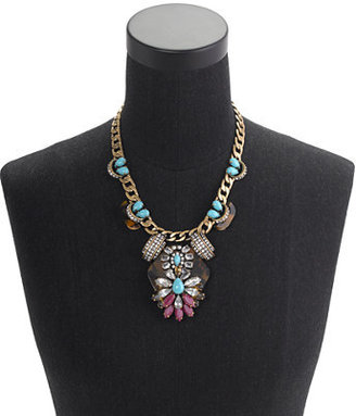 J.Crew Tortoise and turquoise statement necklace