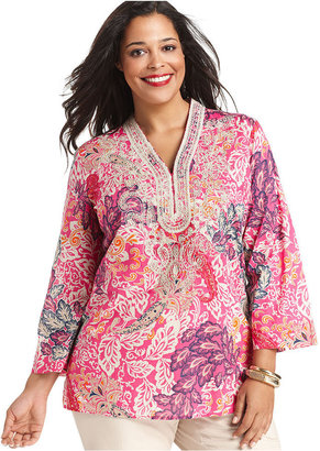 Charter Club Plus Size Top, Three-Quarter-Sleeve Printed Embroidered Tunic