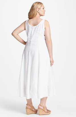 Eileen Fisher Sleeveless A-Line Midi Dress (Plus Size) White 1X