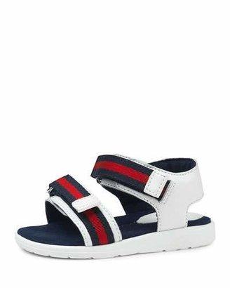 Gucci Gauffrette Web-Strap Sandal, Red/White/Blue, Toddler $210 thestylecure.com