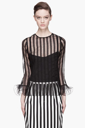 Marc Jacobs Black sheer Panelled Ruffled Cuff Blouse