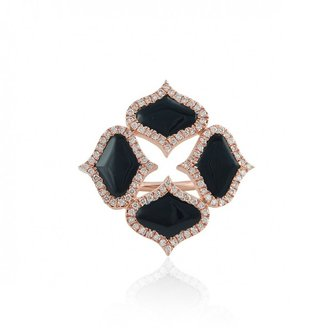 Gyan Jewels Lattice Ring In Onyx