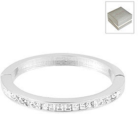 Kenneth Cole Crystal Square Hinged Silvertone Bangle Bracelet in a Gift Box