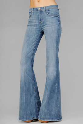 7 For All Mankind Bell Bottom Super Flare In Pale Blue Whiskered