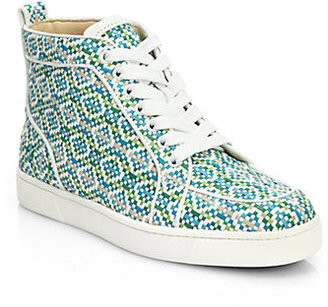 Christian Louboutin Rantus Woven Leather High-Top Sneakers
