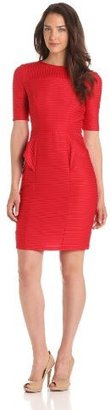 London Times Women's Elbow Sleeve Pintuck Jersey Dress