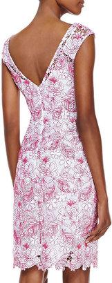 Monique Lhuillier Cap-Sleeve Embroidered Lace Cocktail Dress, White/Azalea